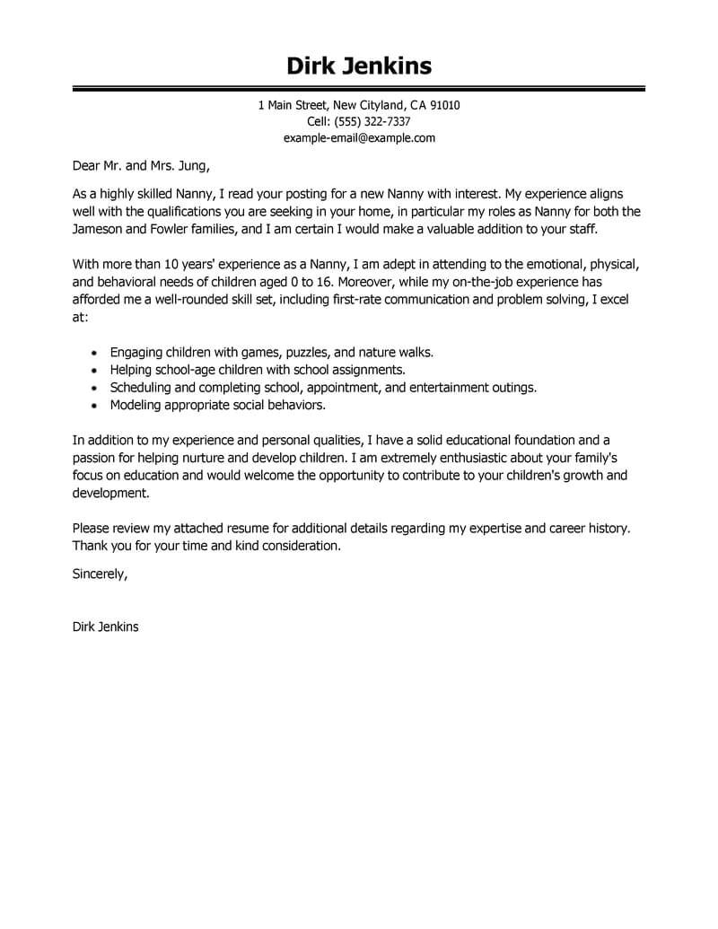 Cover Letter for A Nanny Job Best Nanny Cover Letter Examples Livecareer