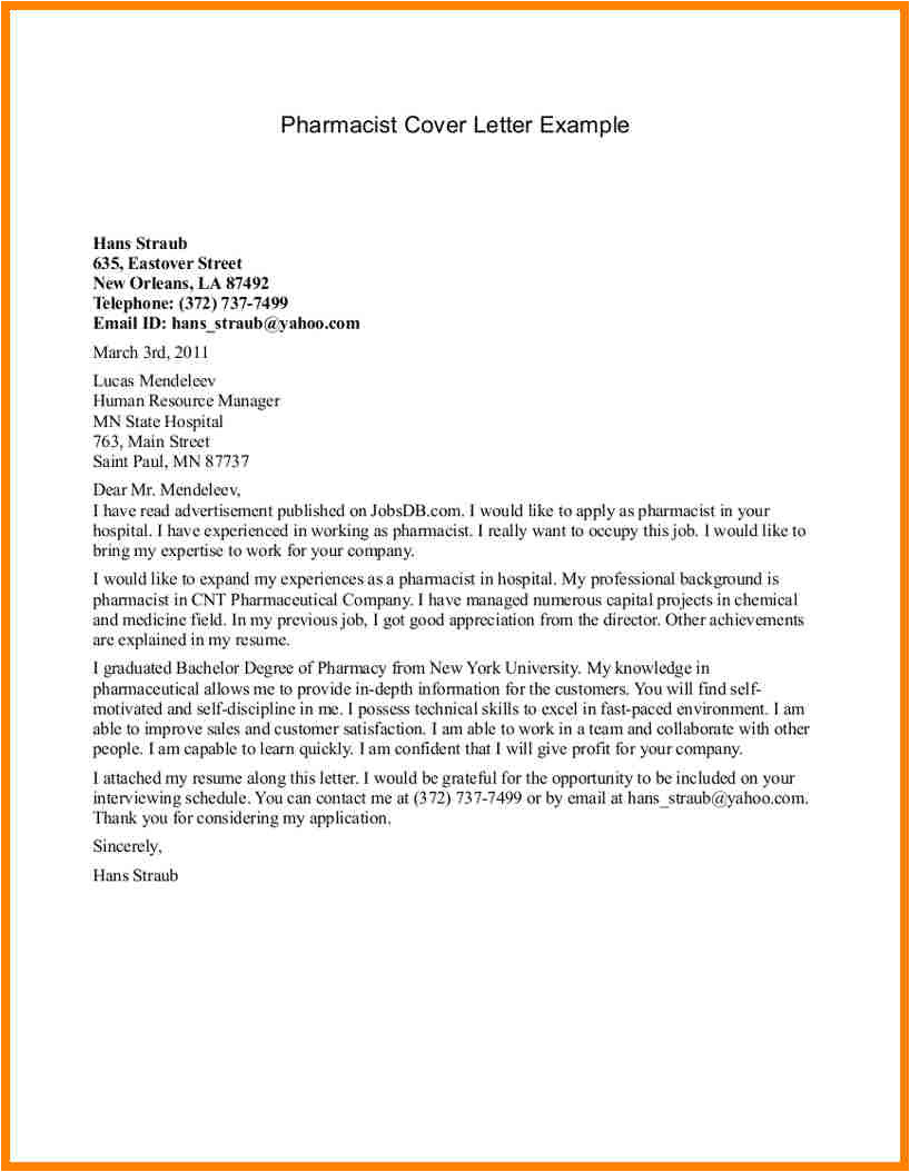 pharmacy internship cover letter