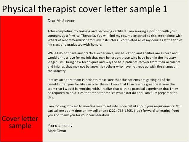 Cover Letter for A Physical therapist Physical therapist Cover Letter