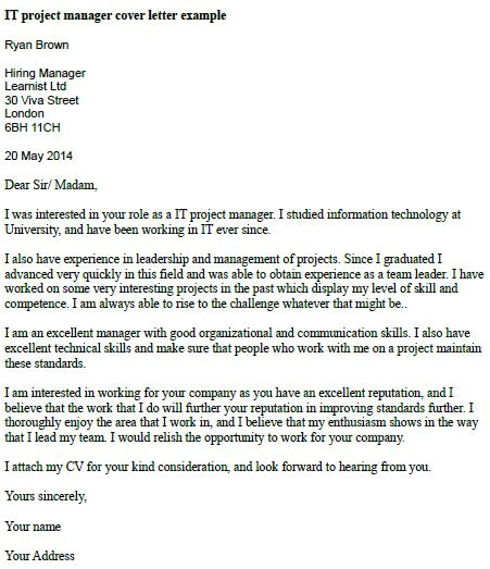 Cover Letter for A Project Manager Position It Project Manager Cover Letter Example Learnist org