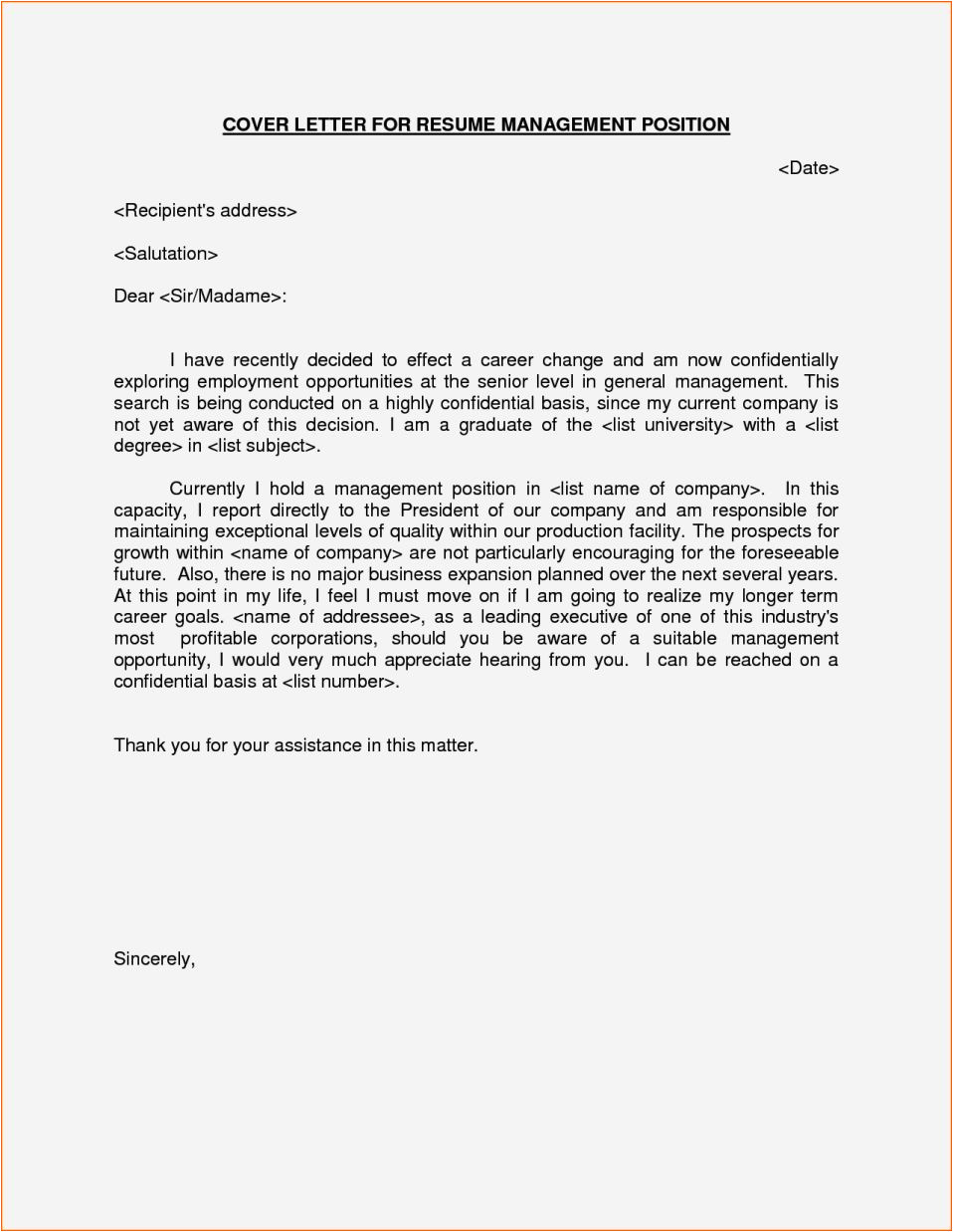 cover letter examples for manager position