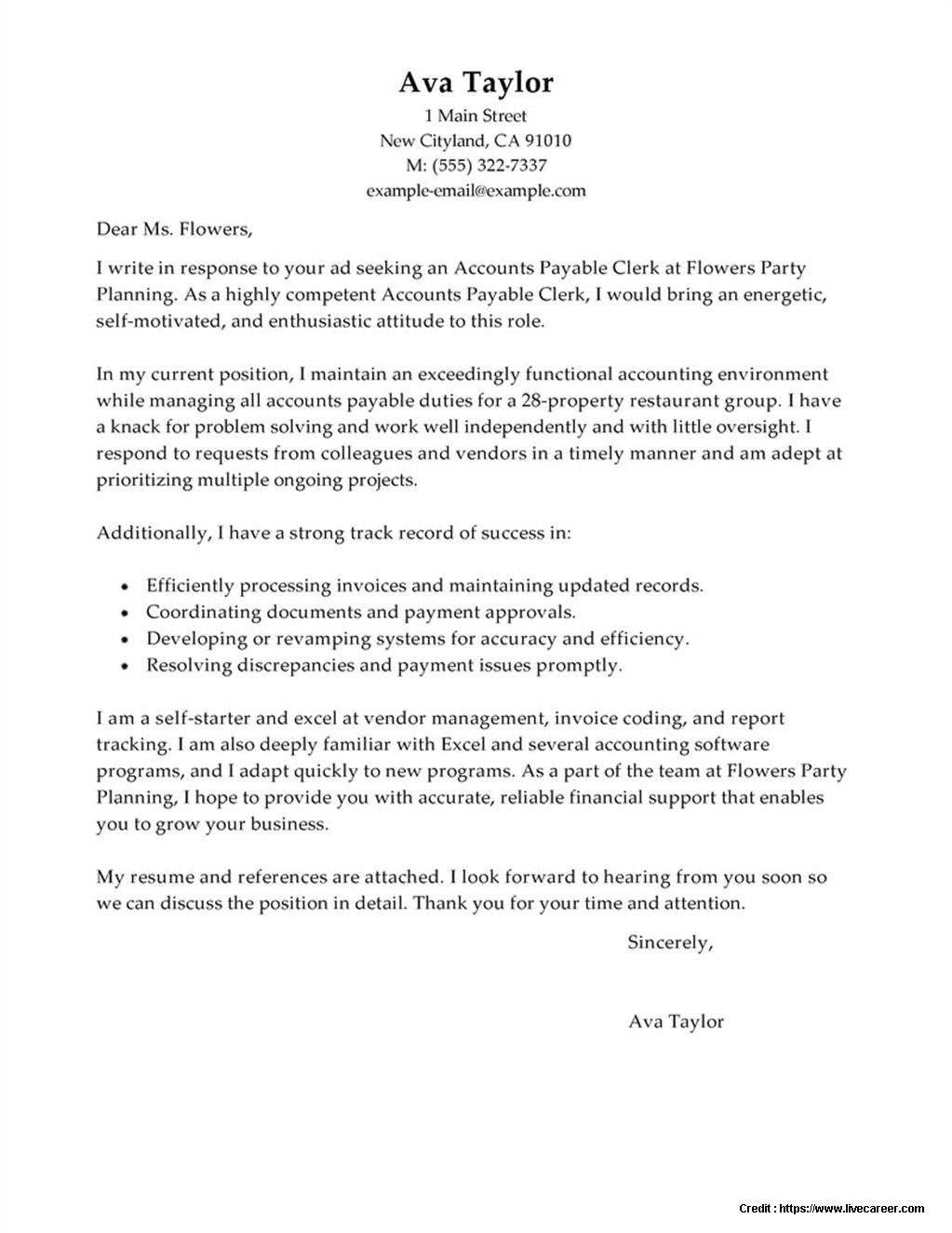 Cover Letter for Account Coordinator Accounts Payable Coordinator Cover Letter Examples Cover