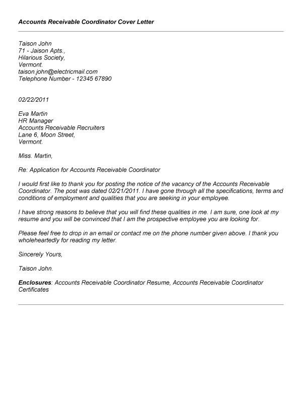 Cover Letter for Account Coordinator Accounts Receivable Resume Resume Badak