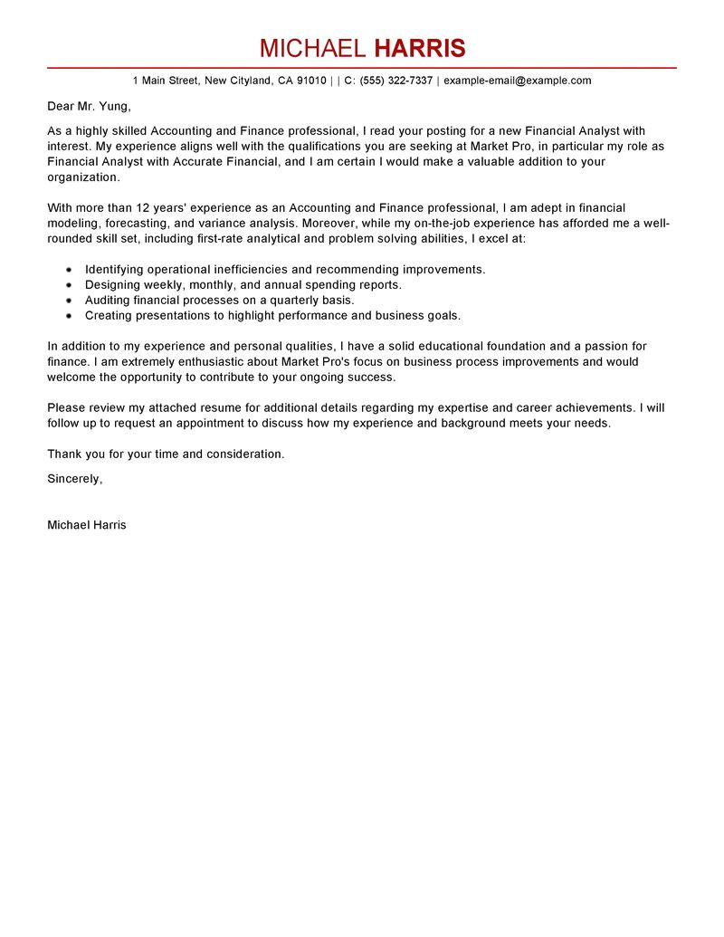 Cover Letter for Accounting and Finance Job Best Accounting Finance Cover Letter Examples Livecareer