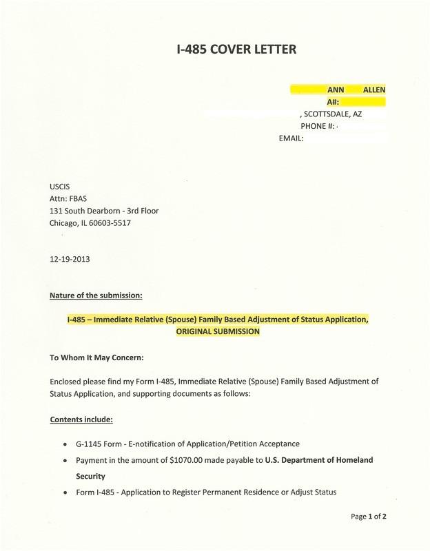 sample cover letter k1 visa adjustment