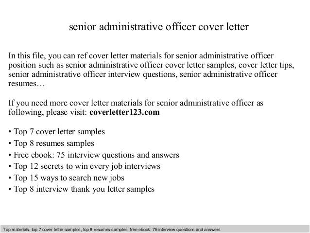 senior administrative officer cover letter