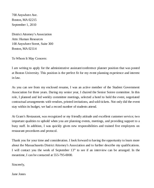 Cover Letter for Administrative assistant at A University Administrative assistant Cover Letter 8 Free Word Pdf