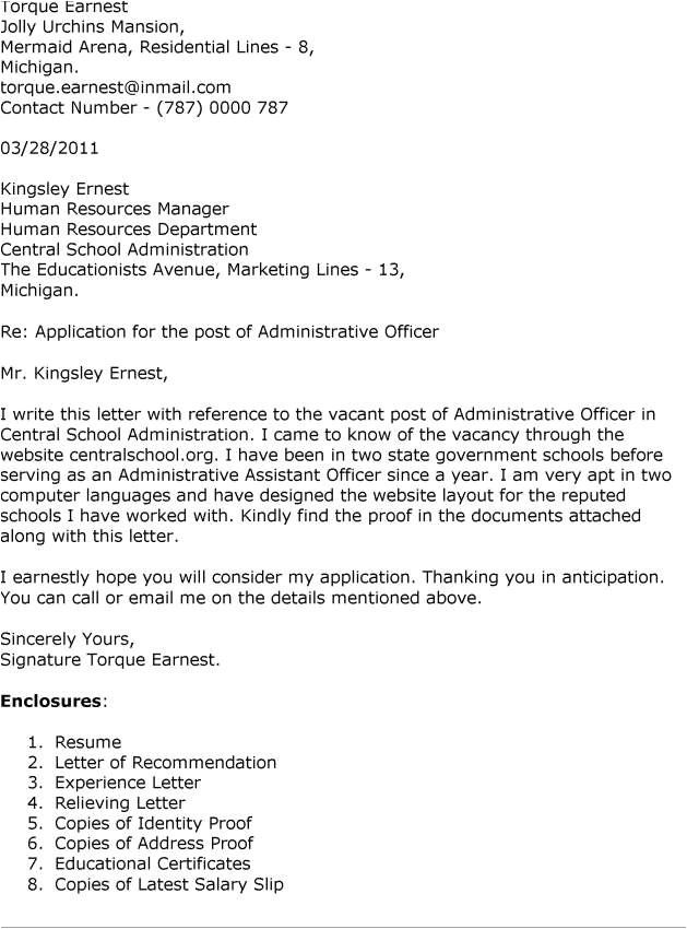 cover letter for administration officer