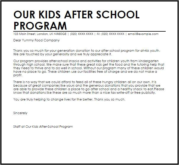 Cover Letter for after School Program after School Program Cover Letter Samples Templates
