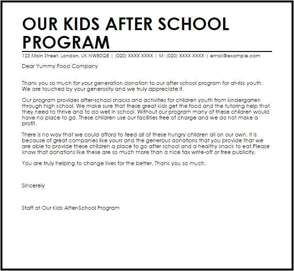 after school program cover letter samples