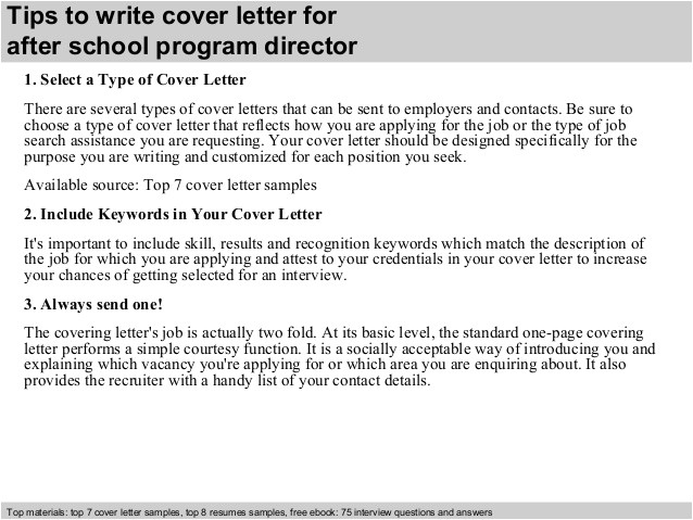 Cover Letter for after School Program after School Program Director Cover Letter