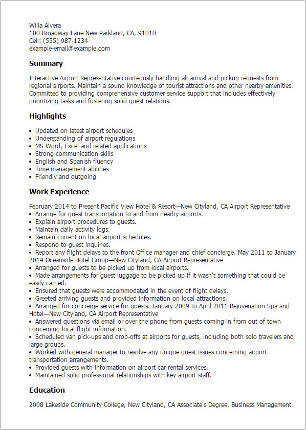 Cover Letter for Airport Job Professional Airport Representative Templates to Showcase