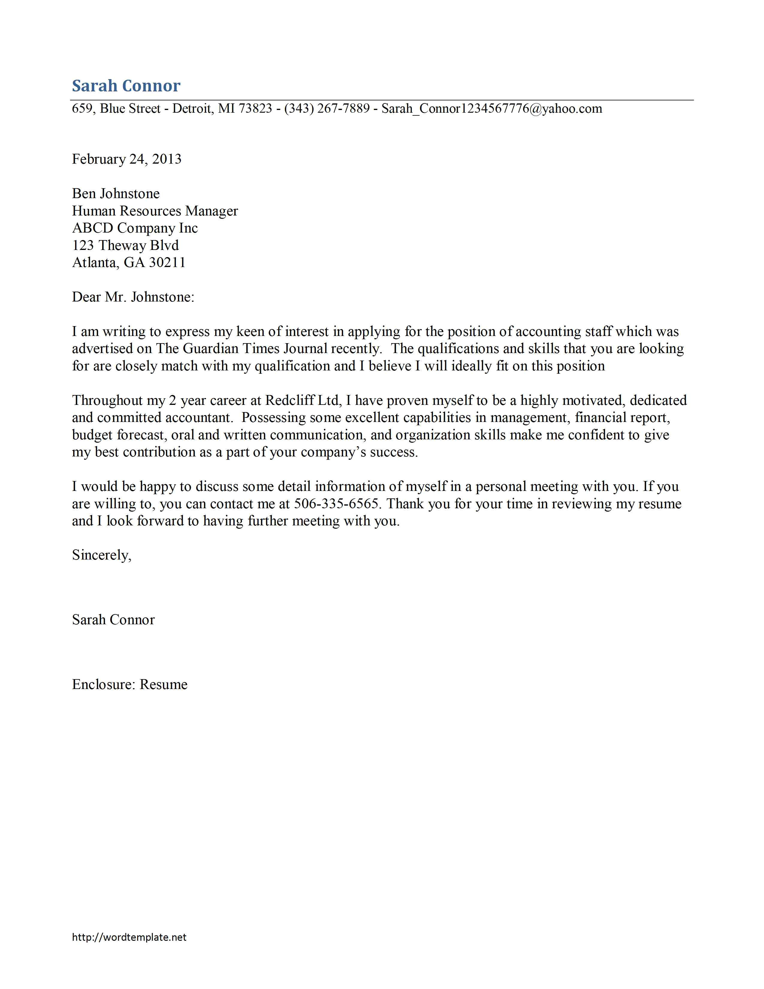 Cover Letter for An Accounting Position Accounting Staff Cover Letter Template