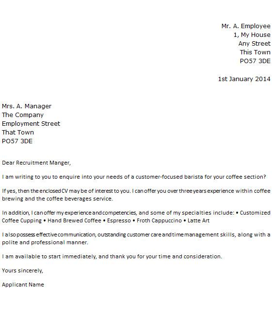 sample application letter for non advertised jobs