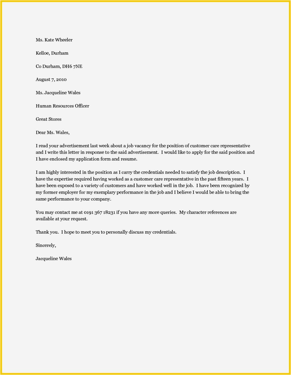 cover letter for any position