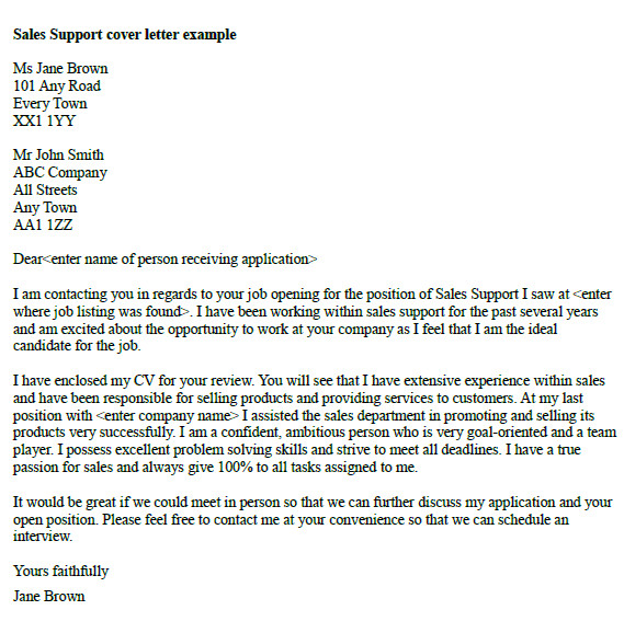 sales support cover letter example
