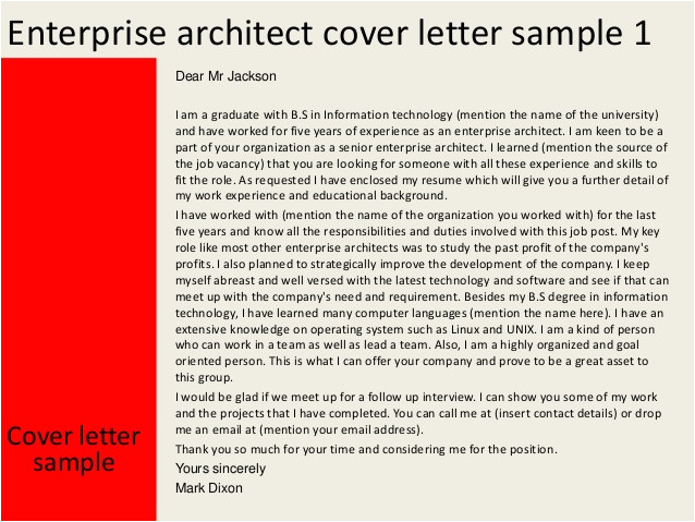 Cover Letter for Architecture Firm Enterprise Architect Cover Letter