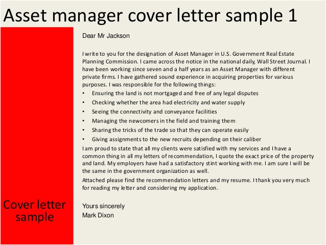 Cover Letter for asset Management Position asset Manager Cover Letter