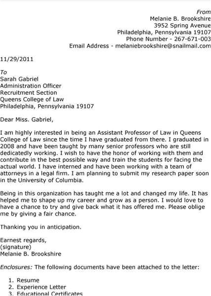 sample cover letter for assistant professor