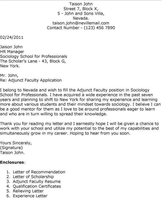 application for professor cover letter
