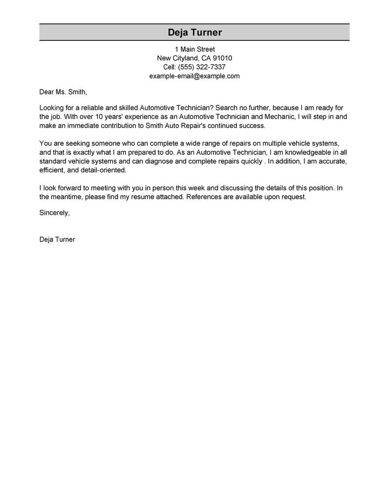 automotive cover letter examples