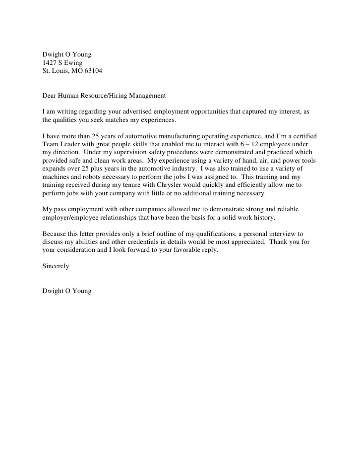 Cover Letter for Automotive Industry Dwight O Young Cover Letter