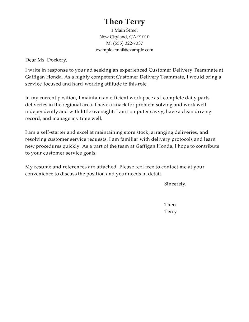 customer delivery teammate cover letter sample