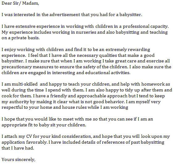 babysitter cover letter example