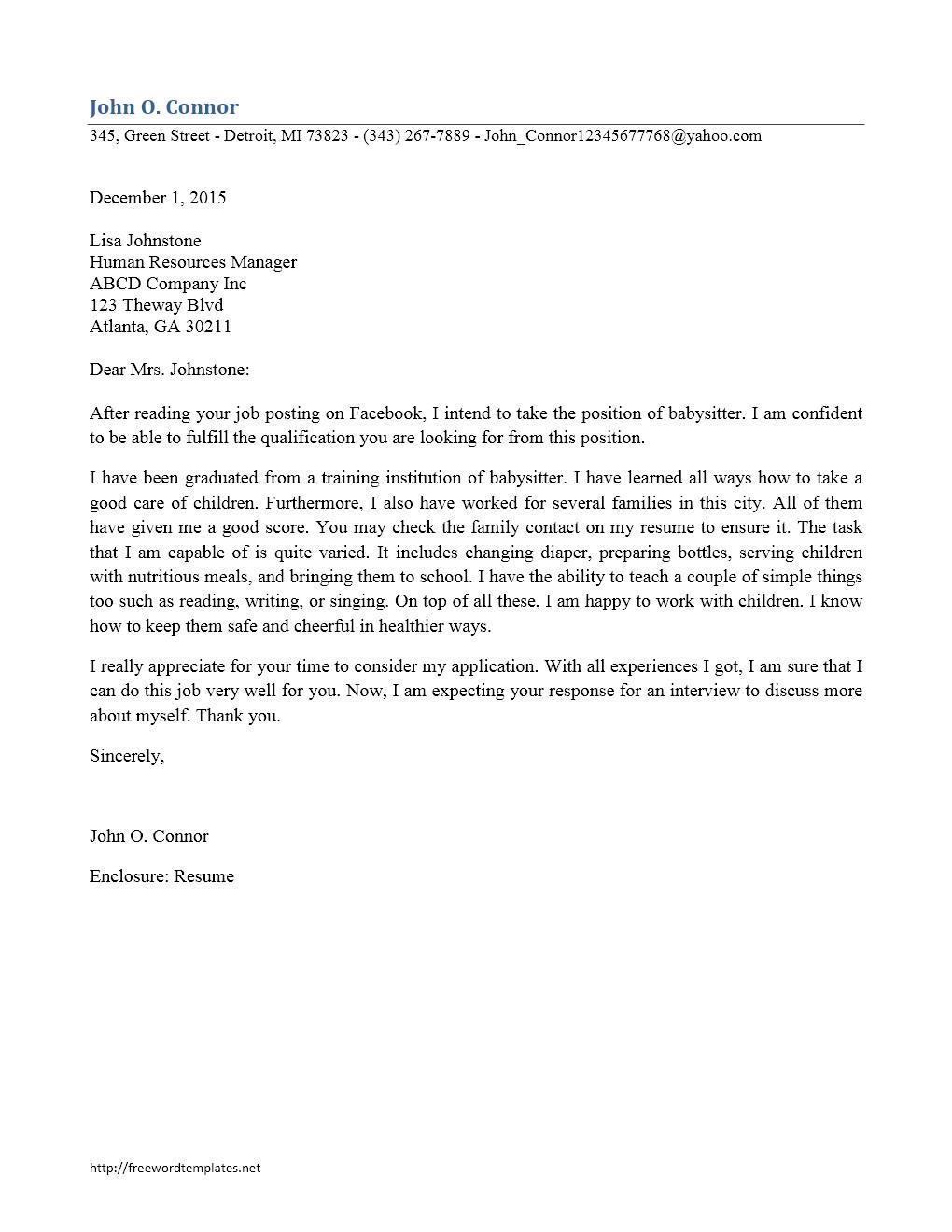 babysitter cover letter