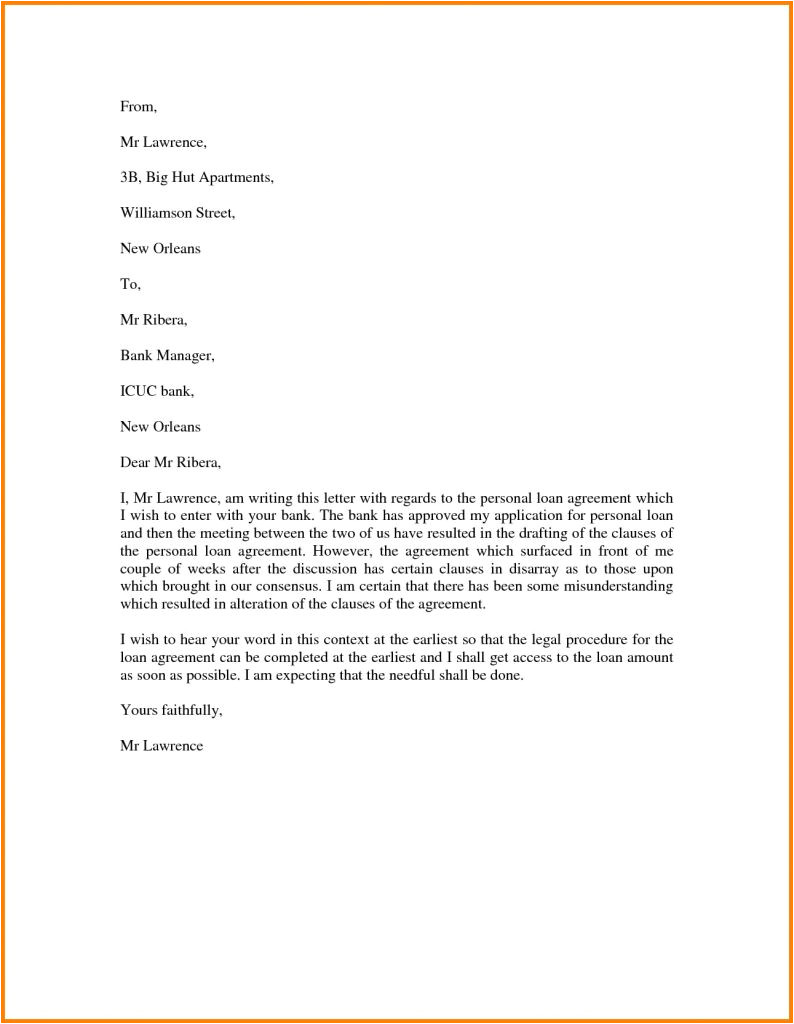 loan letter example