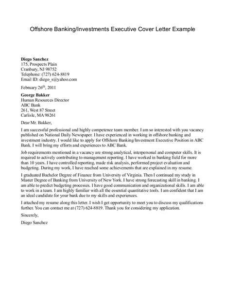 Cover Letter for Banks Investment Banking Sample Cover Letters