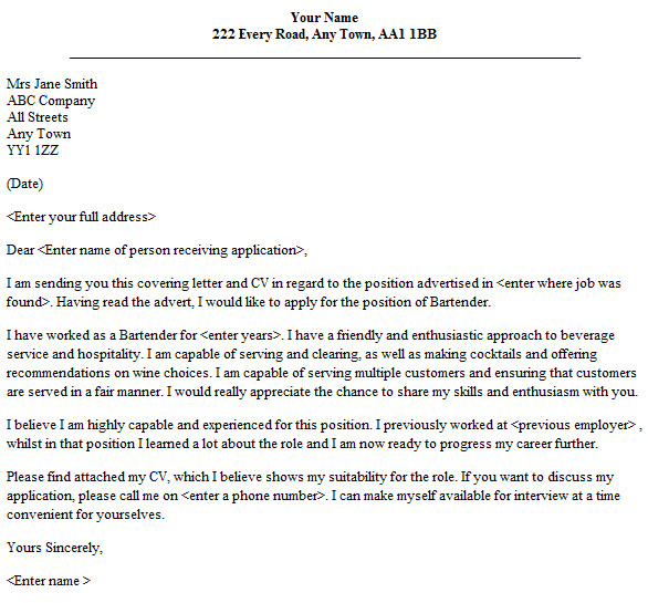 bartender cover letter sample