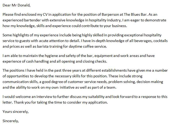 bartender cover letter no experience sample