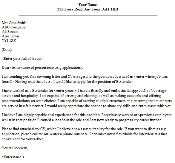 bartender cover letter no experience