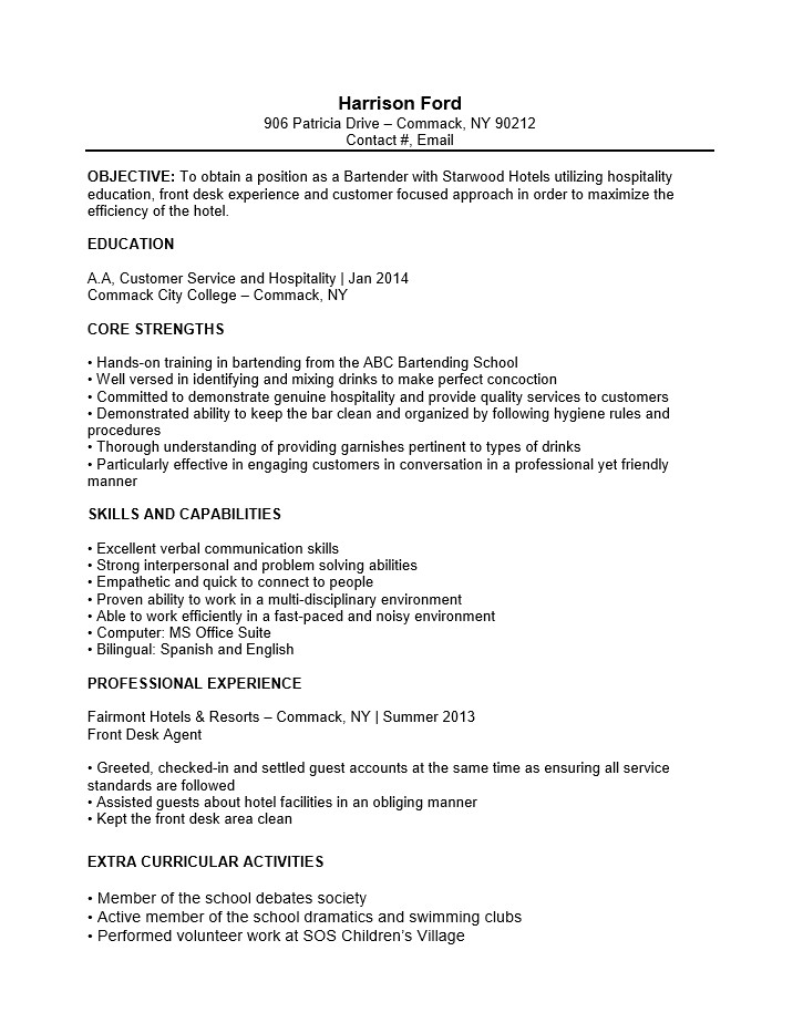 Cover Letter for Bartender with No Experience Bartending Resume No Experience Best Resume Collection