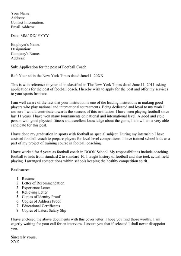 football coach cover letter