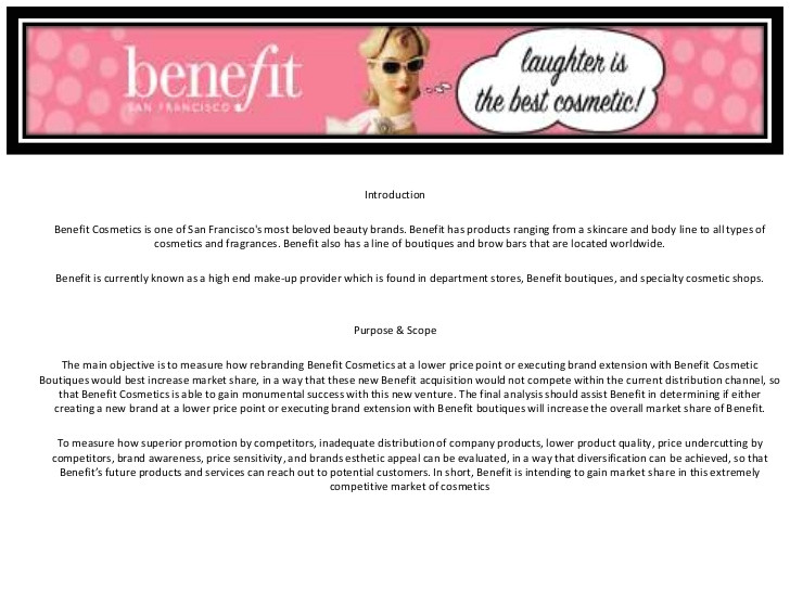 benefit cosmetics sample market research project 11521433