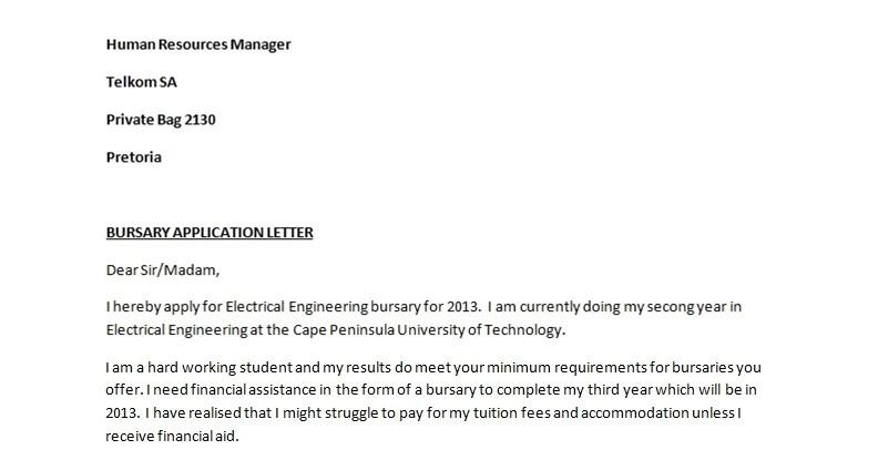 bursary application letter sample