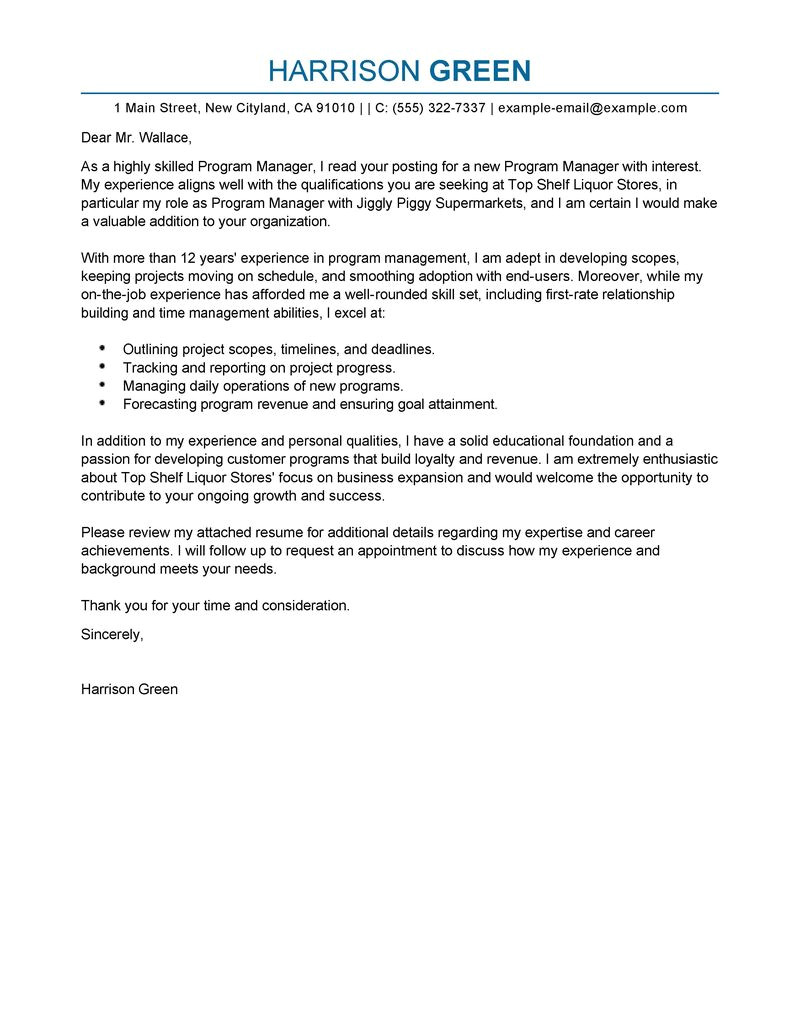 Cover Letter for Business Manager Position Best Management Cover Letter Examples Livecareer