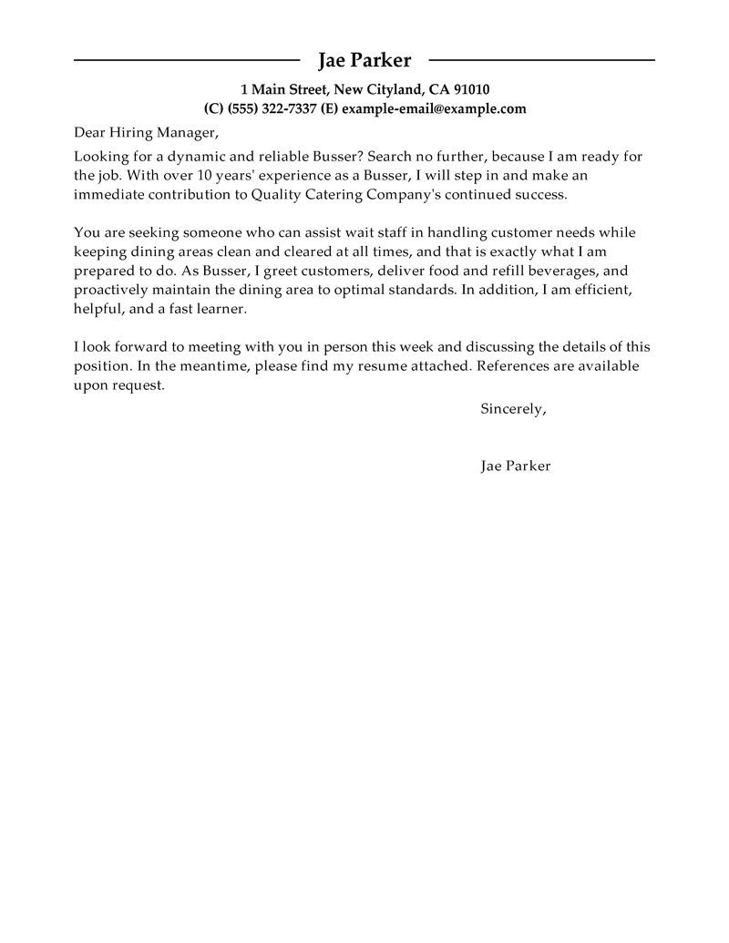 example cover letter of busser