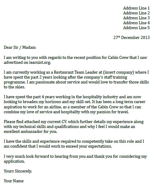 Cover Letter for Cabin Crew Position with No Experience Cabin Crew Cover Letter Example Icover org Uk