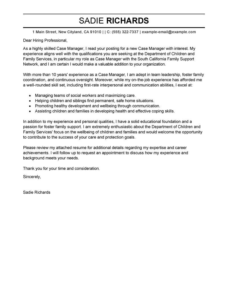 Cover Letter for Case Management Position Case Manager Cover Letter Examples social Services Cover