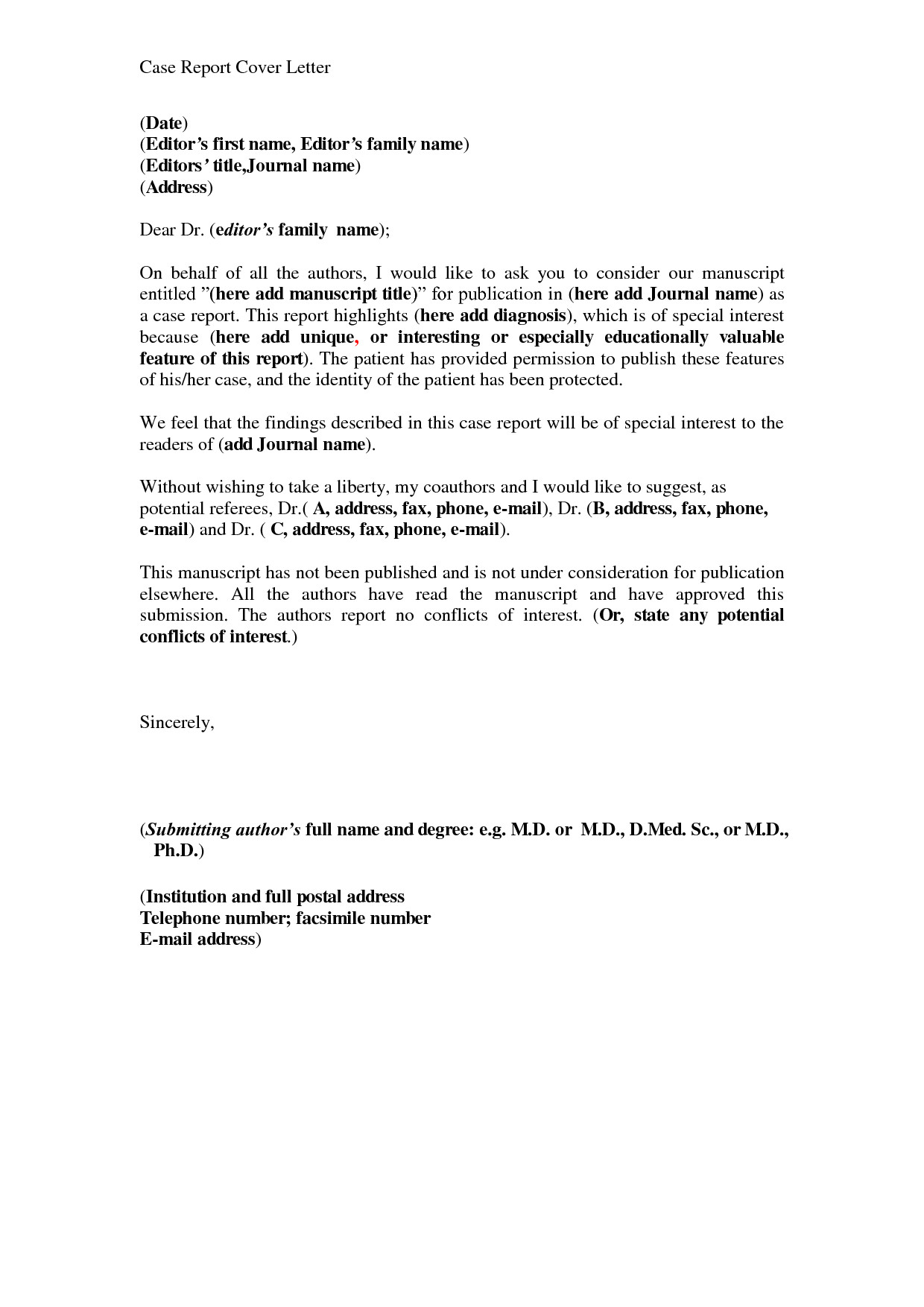 report cover letter example