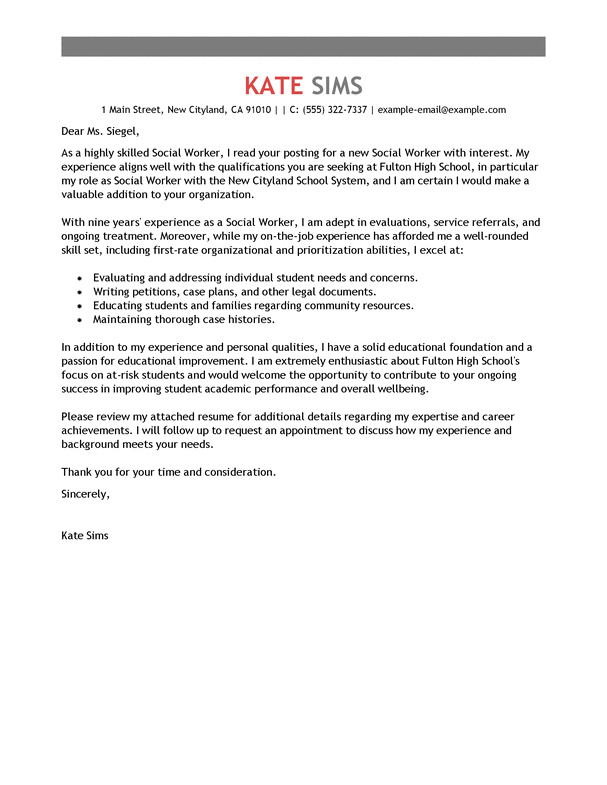 Cover Letter for Caseworker Best social Worker Cover Letter Examples Livecareer