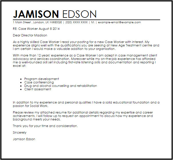 Cover Letter for Caseworker Case Worker Cover Letter Sample Cover Letter Templates