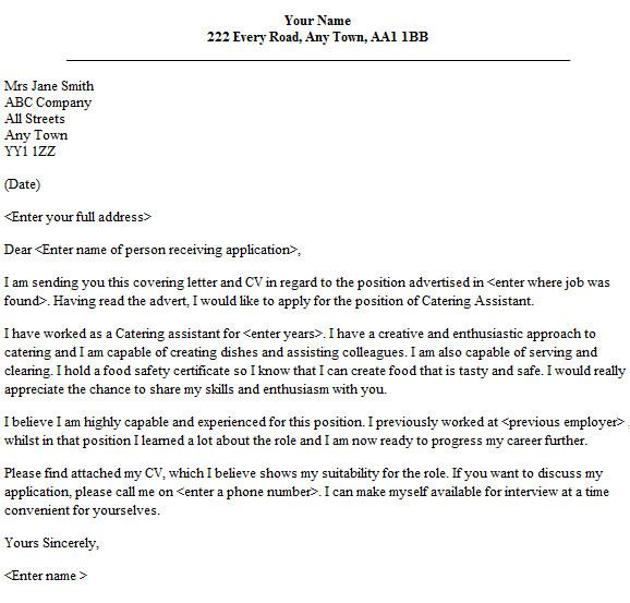 Cover Letter for Catering Job Catering assistant Cover Letter Sample Lettercv Com