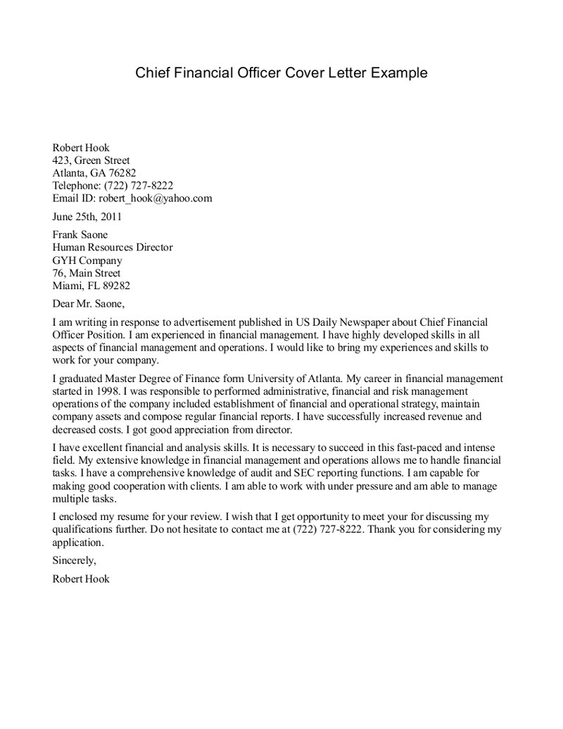 example of a professional letter to cfo