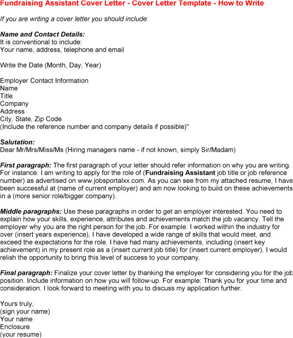 cover letter examples for fundraising job