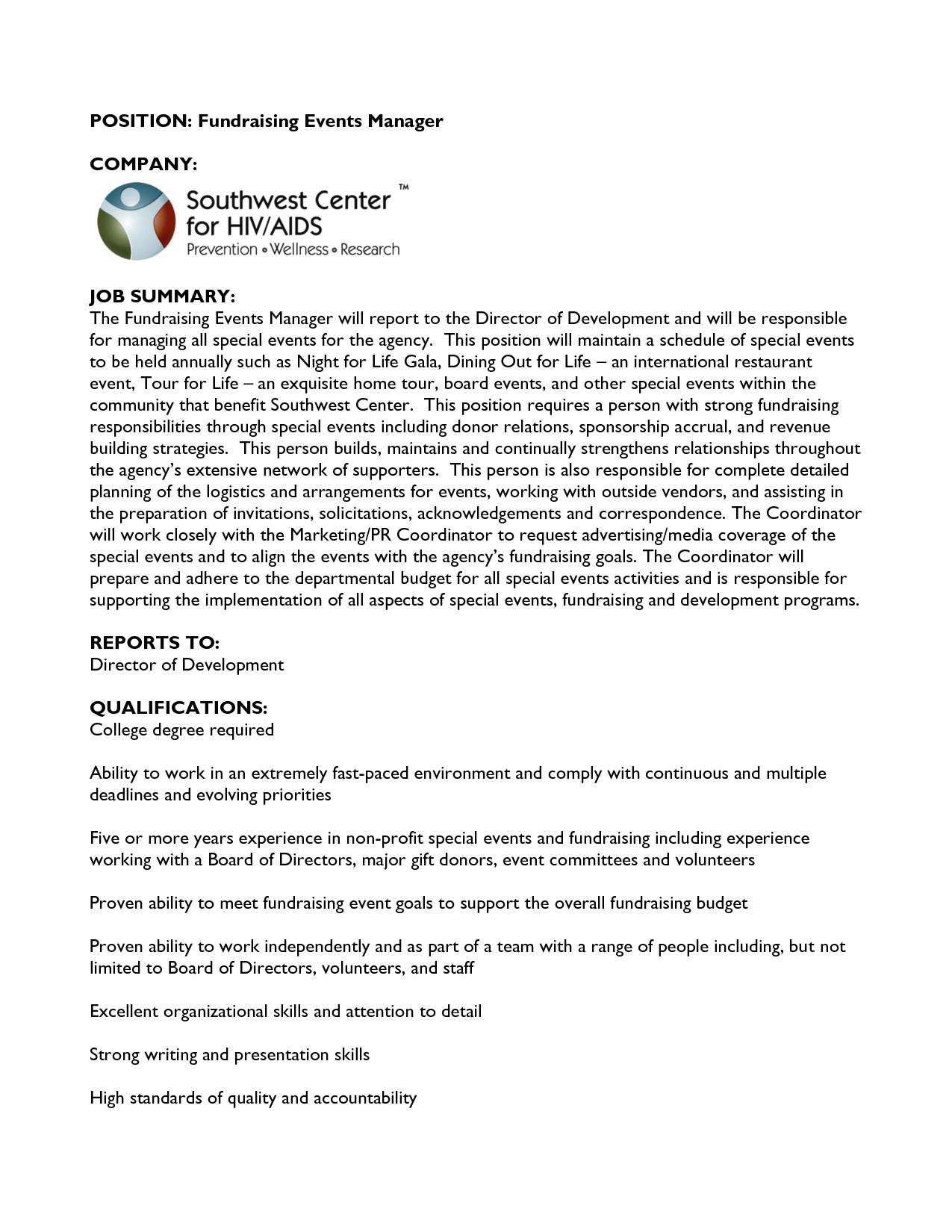 cover letter for fundraising job