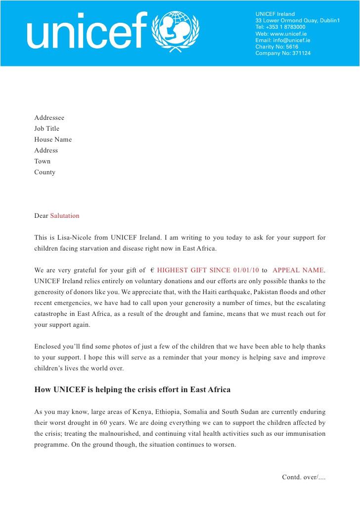 Cover Letter for Charity Job Unicef East Africa Letter
